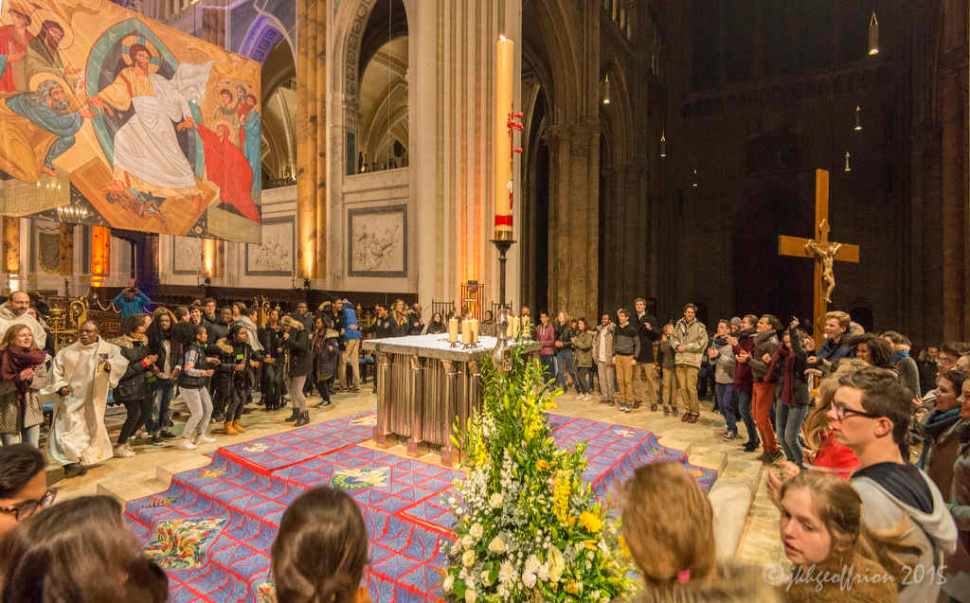 Celebrating the resurrection by dancing around the altar after the Easter Vigil