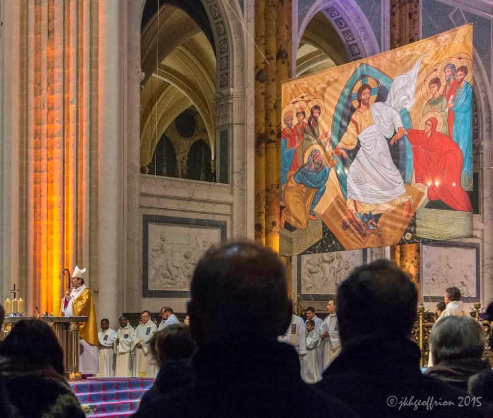 Bishop presiding below the icon of the resurrection