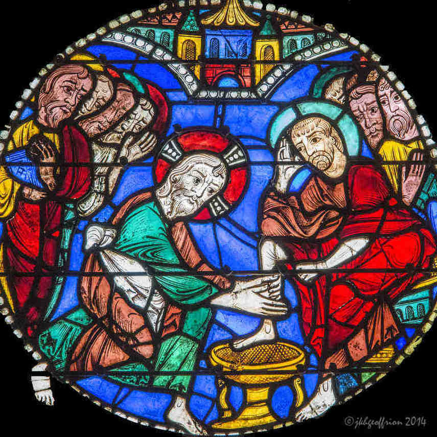 Passion Window Chartres, Jesus Washes Peter's Feet