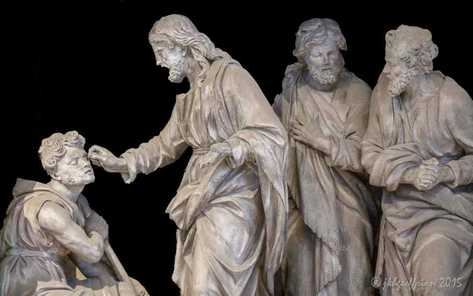 Jesus heals blind man, Outer Choir sculpture