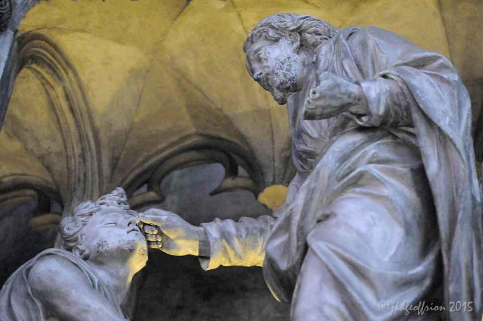 Jesus heals blind man, Outer Choir sculpture