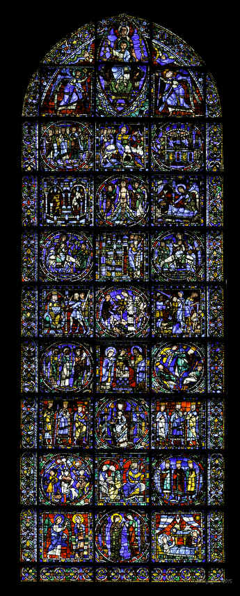 Life of Christ, 12th century stained glass window
