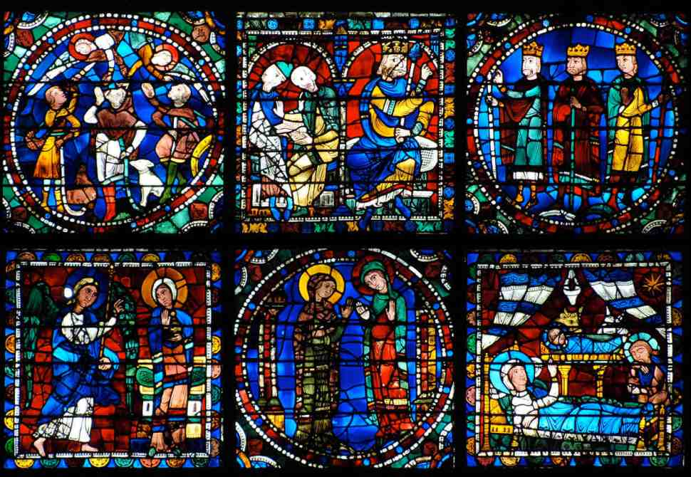 The bottom two rows of the Life of Christ stained glass window (twelfth century)