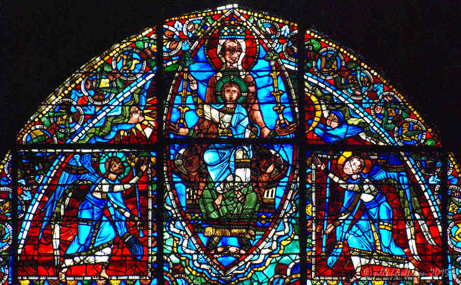 Mary and Jesus at the top of the Life of Christ Window (12th century)