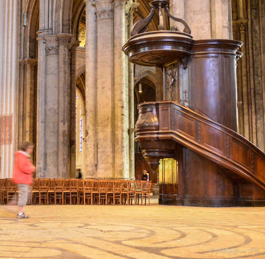 Labyrinth walker with the Bishop's pulpit