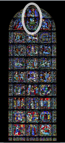 Mary and Jesus at the Top of the Life of Christ Window