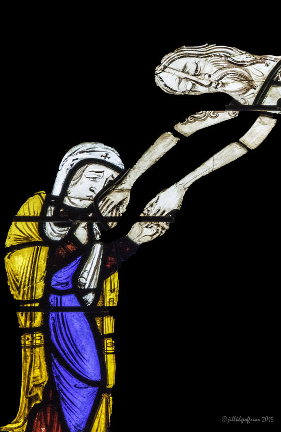 Mary as Jesus is being taken off the cross, Passion and Resurrection Window (13th century)