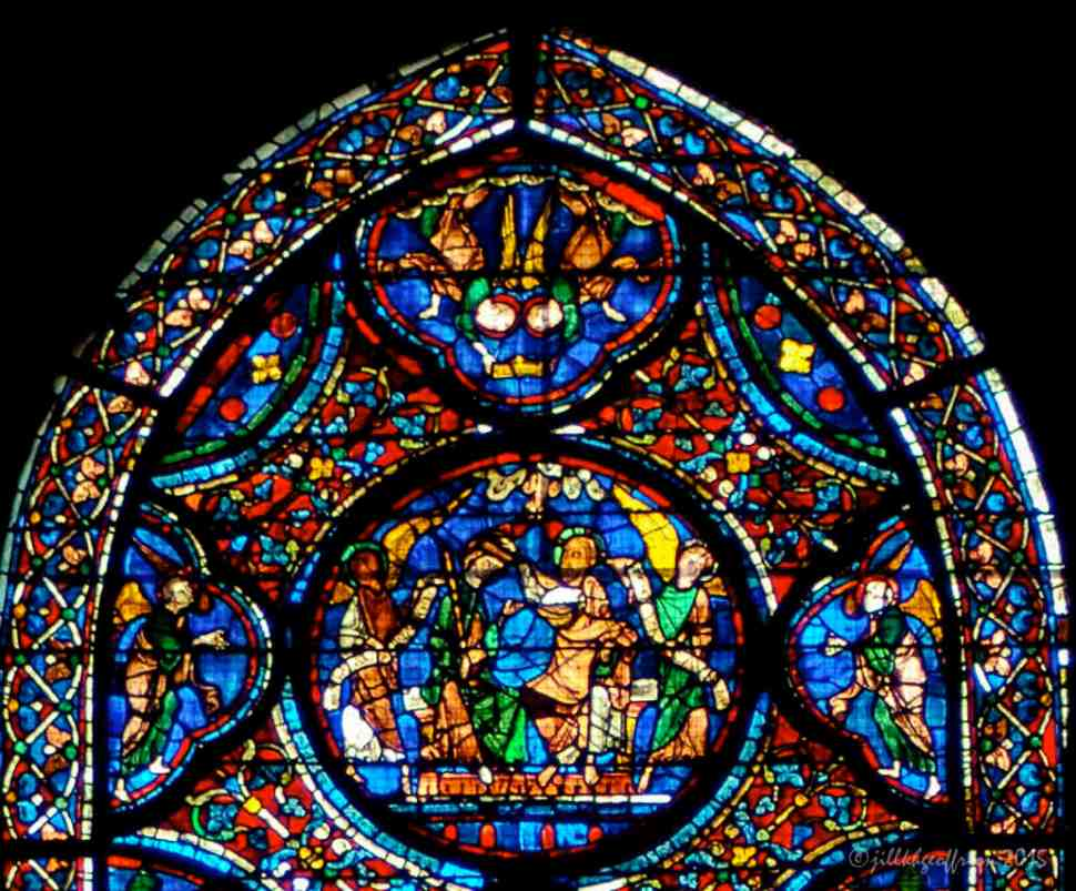 The top panels of the Death and Glorification of Mary Window by Jill K H Geoffrion
