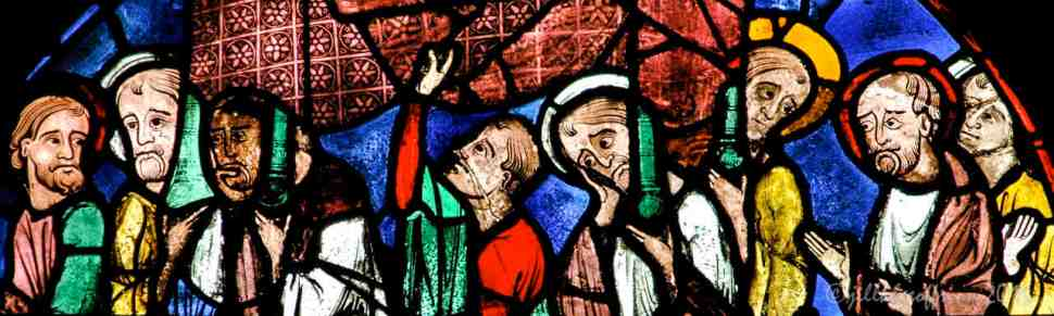 Disciples carrying Mary's catafalque in the Glorification of the Virgin Window by Jill K H Geoffrion