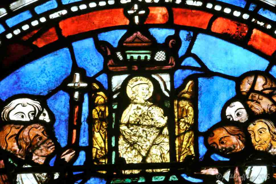 Statue of Mary and Jesus, Miracles of Mary window by Jill K H Geoffrion