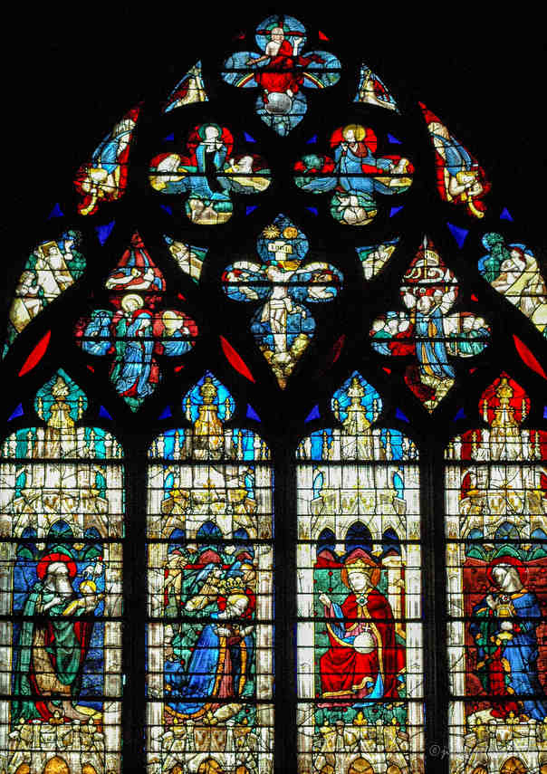 The top of the fifteenth century stained glass window in the Vendome Chapel by Jill K H Geoffrion