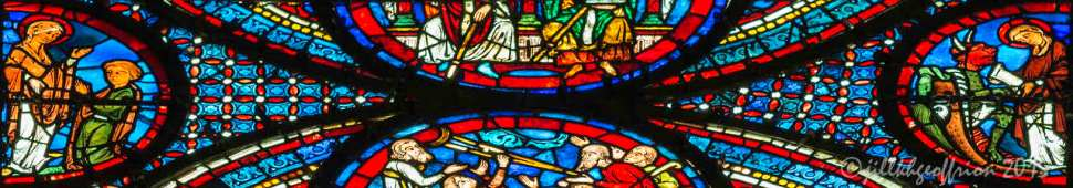 Part of the upper Miracles of Mary Window showing the Miracle involving Theophilus by Jill K H Geoffrion