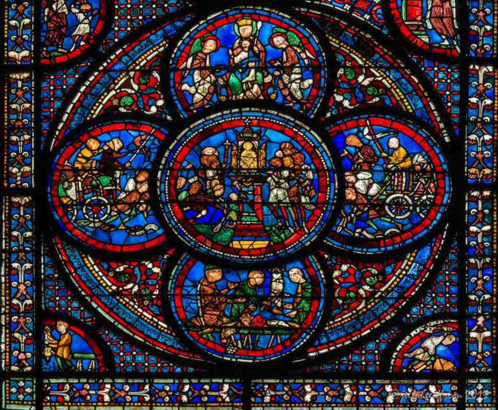 Bottom circle of the Miracles of Mary Window