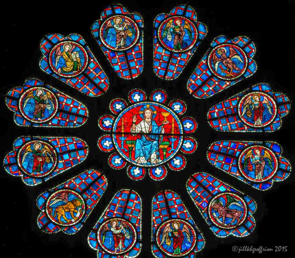Angel incensing near Christ, South Rose Window by Jill K H Geoffrion