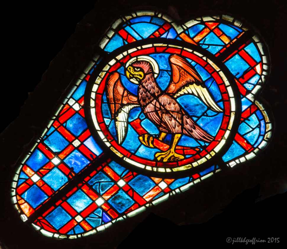 Eagle (John) near Christ, South Rose Window by Jill K H Geoffrion
