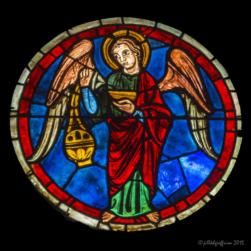 Angel incensing near Christ, South Rose Window by Jill K H Geoffrion
