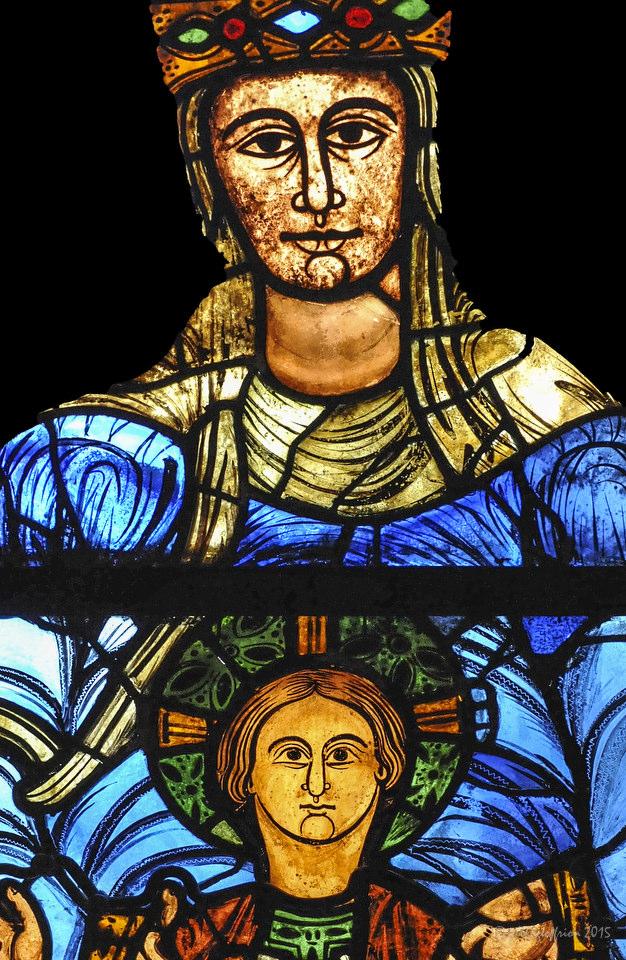 The faces of Mary and Jesus , Notre Dame de la Belle Verrière by Jill K H Geoffrion