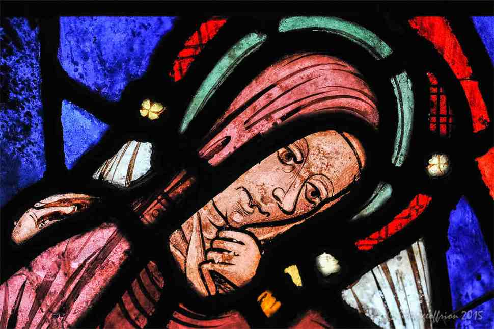 Anne after Mary's Birth in the Life of Mary Window by Jill K H Geoffrion