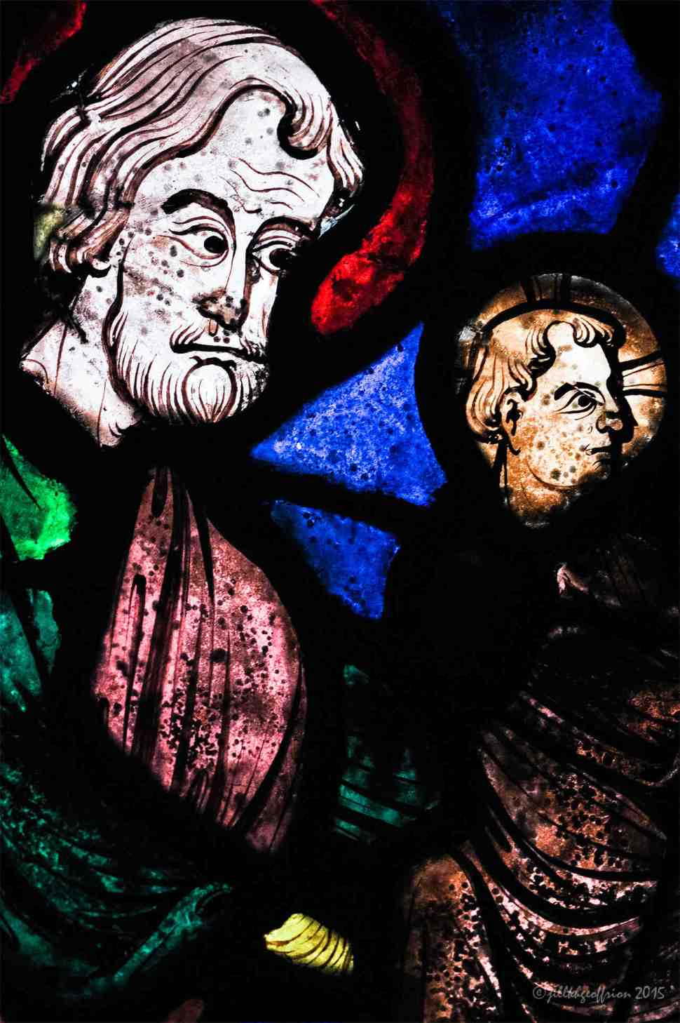Presentation of Jesus in the Life of Mary window by Jill K H Geoffrion
