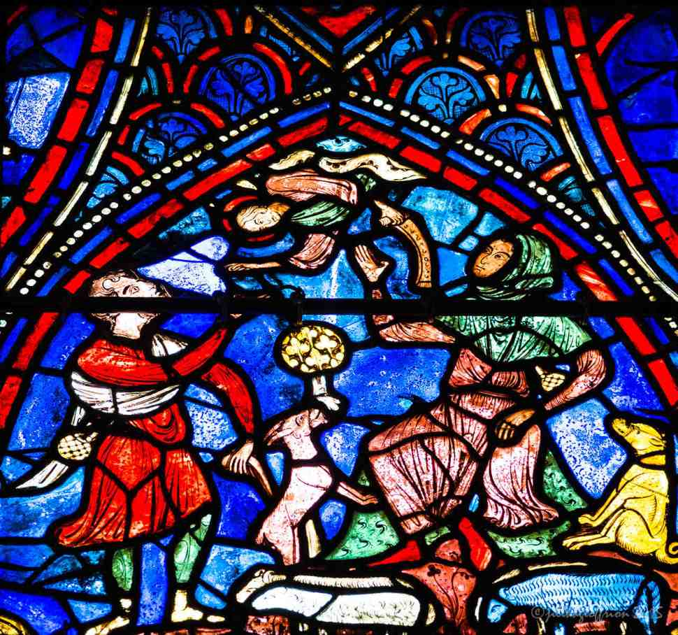 Angel appears to the shepherd in the Life of Mary window by Jill K H Geoffrion