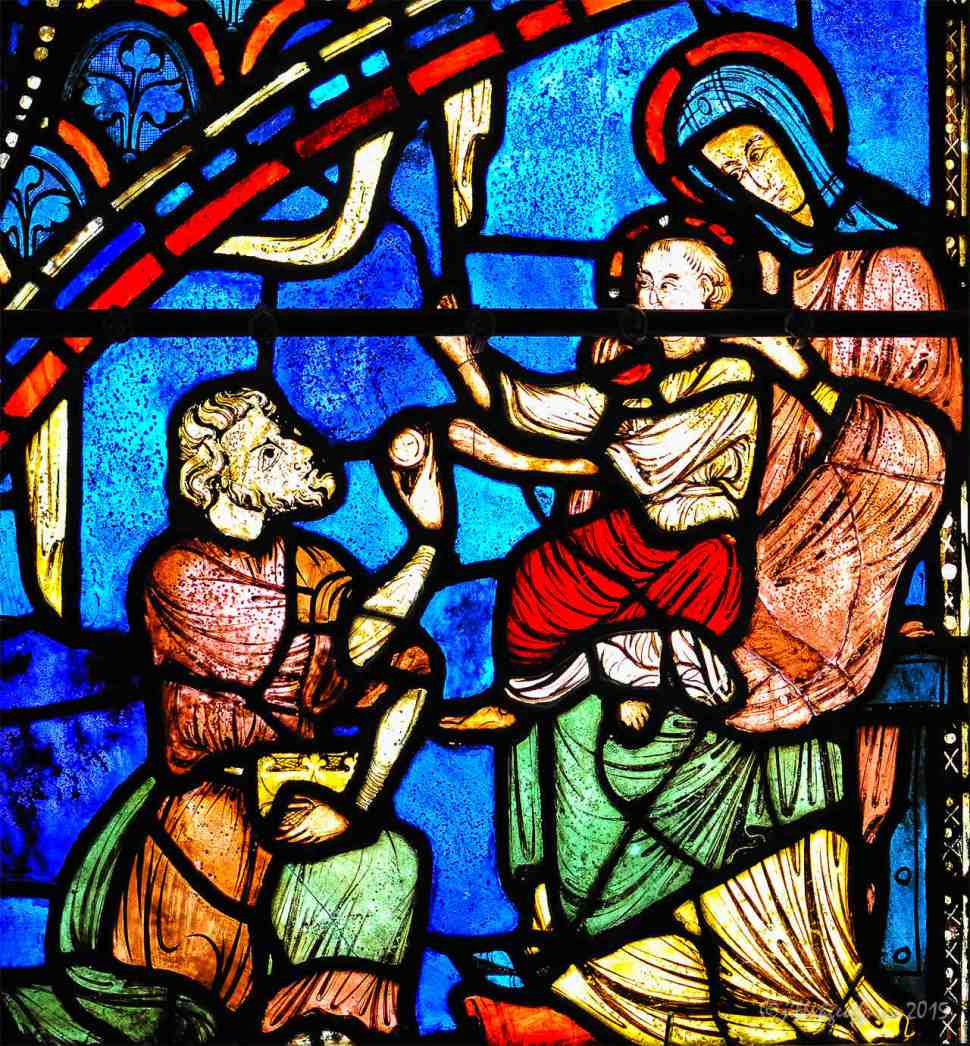 Magi offers gold to Jesus by Jill K H Geoffrion