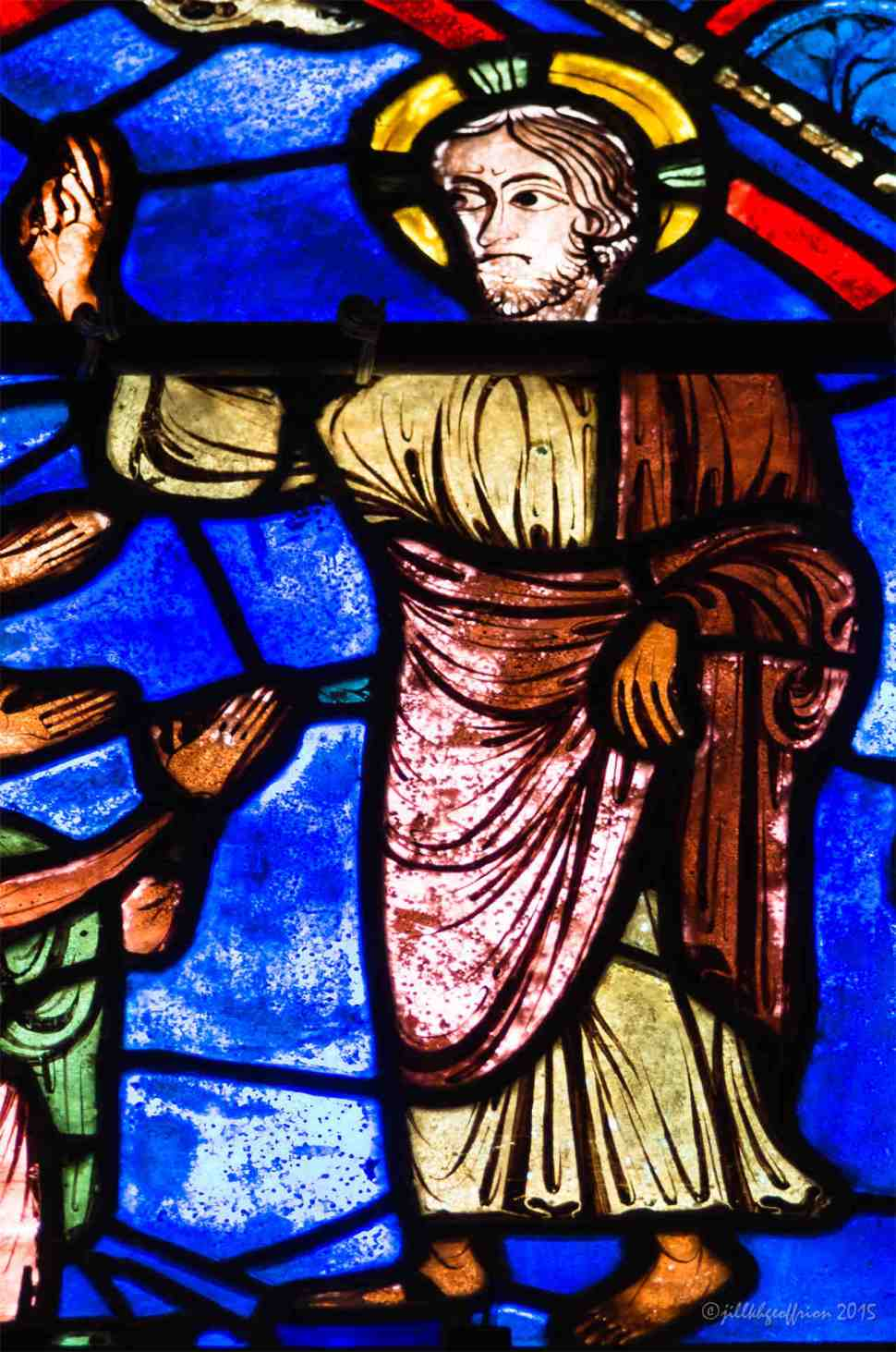 Jesus blessing in the Life of Mary window by Jill K H Geoffrion