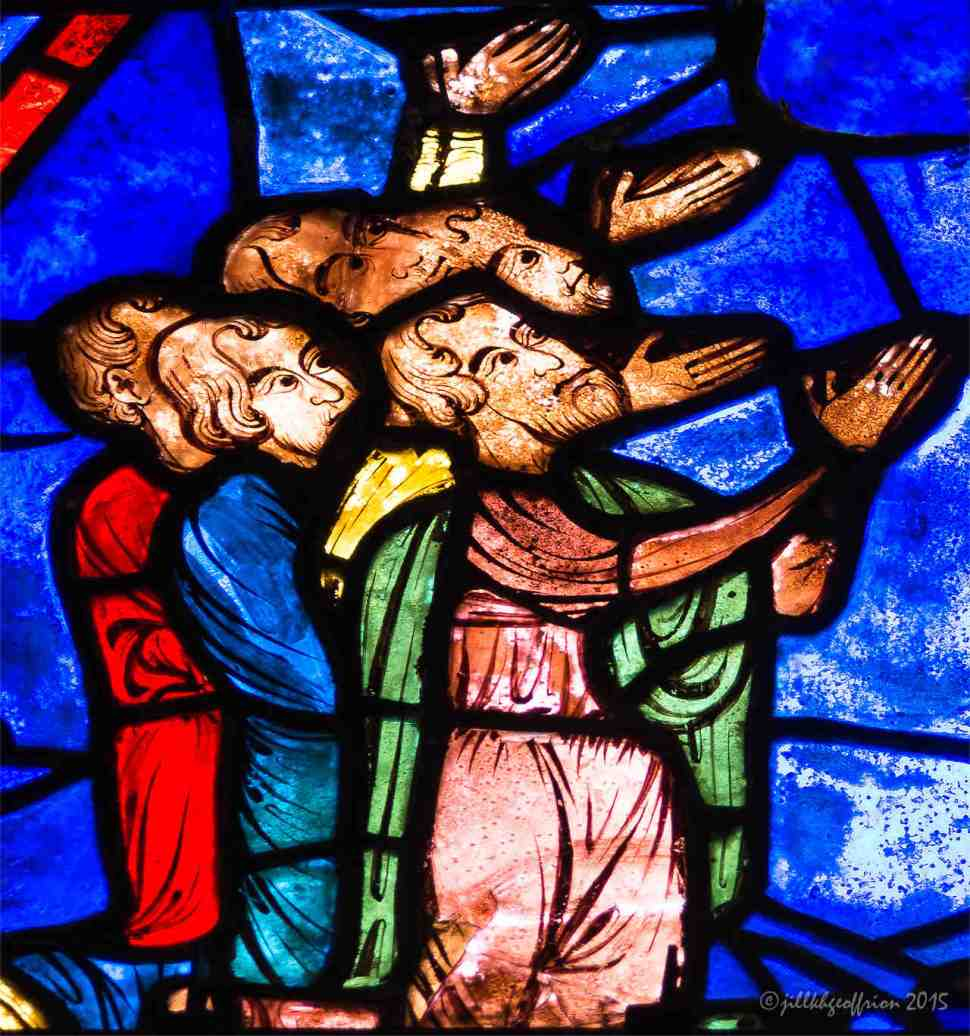 Receiving Jesus' blessing in the Life of Mary window by Jill K H Geoffrion
