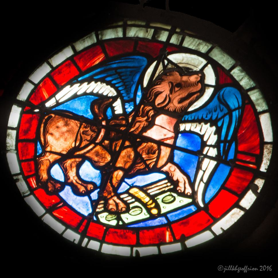 Mark (Lion) in the West Rose at Chartres by Jill K H Geoffrion