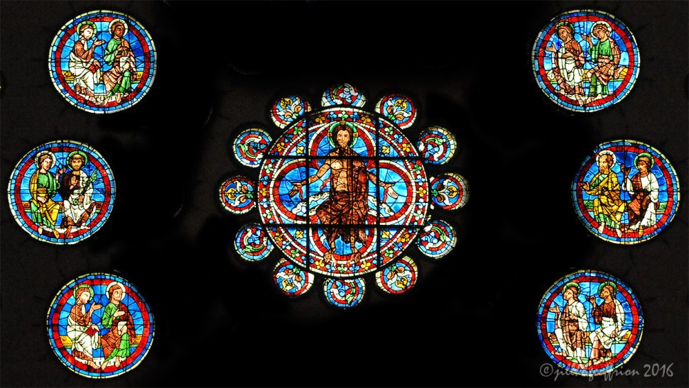 Apostles, Rose window at Chartres by Jill K H Geoffrion
