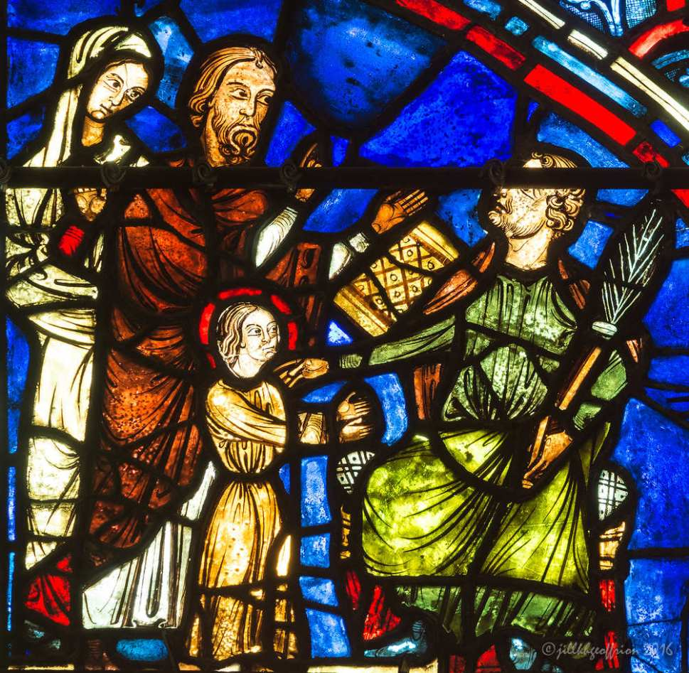 Mary being taken to the Temple, Life of Mary Window by Jill K H Geoffrion