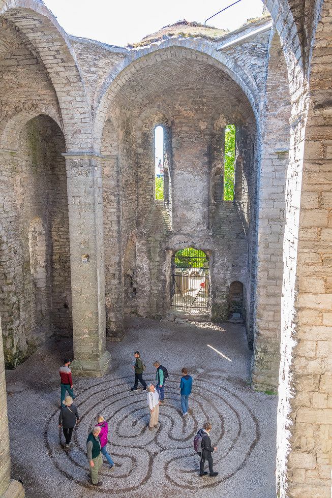 Group labyrinth walk in Visby, Sweden